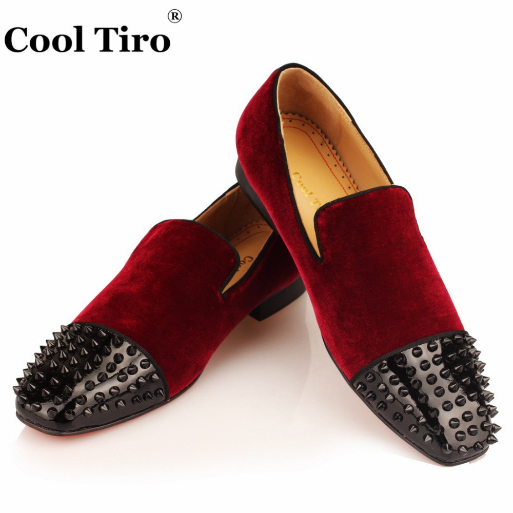 4bf6c5416883 COOL TIRO Fashion Wine red Loafers Velour Spikes Smoking Slip-on Handmade  Flats men Black Rivet Party and Wedding Casual Shoes - aliexpress.com -  imall.com