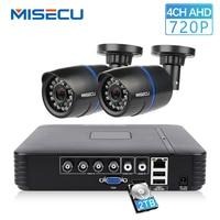 MISECU 4CH CCTV системы 720 P 3 в 1 AHD CCTV DVR 2 шт. 1,0 Мп ИК Открытый безопасности камера 1200 ТВЛ камера системы скрытого видеонаблюдения