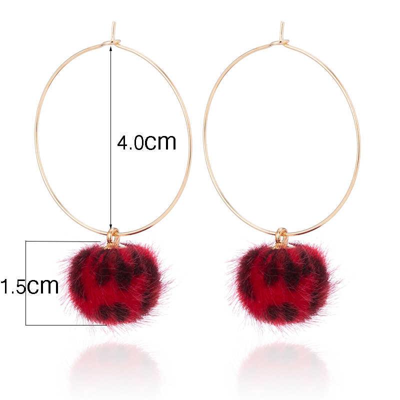 ... TDQUEEN Gold Hoop Earrings For Women Leopard Plush Beads Pendants  Pompom Ear Jewelry Korean Style Big ... 095f04f0b4e9