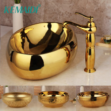 KEMAIDI Золотой роскошный керамический Санузел для ванной кран умывальник раковина Набор для ванны комбинированный Твердый латунный смеситель кран Набор
