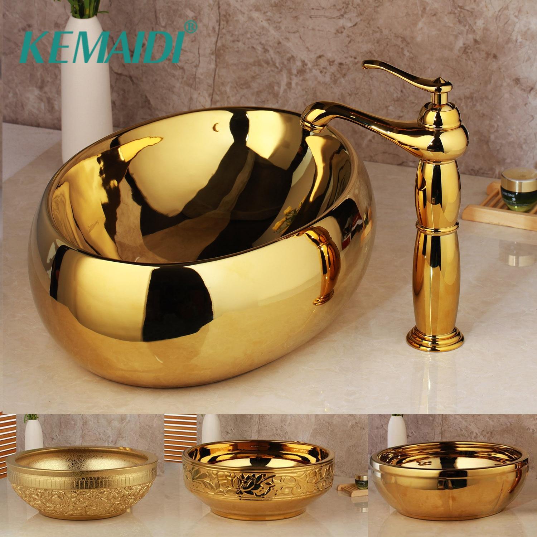 KEMAIDI Luxo De Ouro Torneira Do Banheiro Lavatório Lavatório De Cerâmica Bacia Conjunto Pia Combinar Latão Mixer Torneira do Banho Conjunto