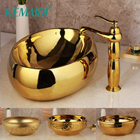 KEMAIDI Golden Luxury Ceramic Lavatory Bathroom Tap Washbasin Basin Sink Set Bath Combine Solid Brass Mixer Faucet Set