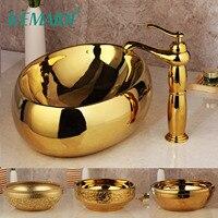 KEMAIDI Golden Luxury Ceramic Lavatory Bathroom Tap Washbasin Basin Sink Set Bath Combine Solid Brass Mixer Faucet Set