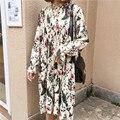 beautiful spring pleated wrinkled midi dress floral print ruffles casual dress robe femme vestido mujer vestiti donna