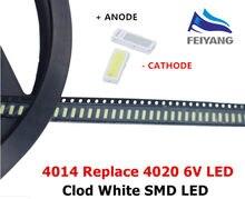 200 pçs/lote 4014 4020 smd led contas branco frio 1w 6v 150ma para tv/lcd backlight