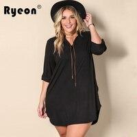 Ryeon Black Mini Shirt Dress Women Autumn Casual Loose Winter Shortest V Neck Long Sleeve Sexy