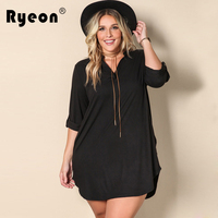 Ryeon Black Mini Shirt Dress Women Autumn Casual Loose Winter Shortest V Neck Long Sleeve Sexy