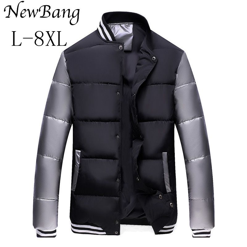 Plus 6XL 7XL 8XL Baseball Jacket For Men Extra Large Cotton Coats Thick Warm Casual Overcoat