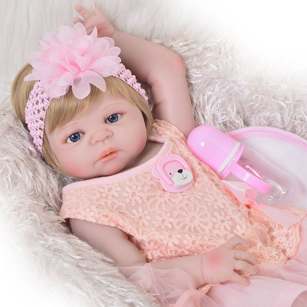 Newborn Bebes Doll 2357cm Full Vinyl Silicone Reborn Baby Girl Dolls Blond Wig Children Gift Toy Dolls Can Bathe Bracing Up The Whole System And Strengthening It Dolls & Stuffed Toys