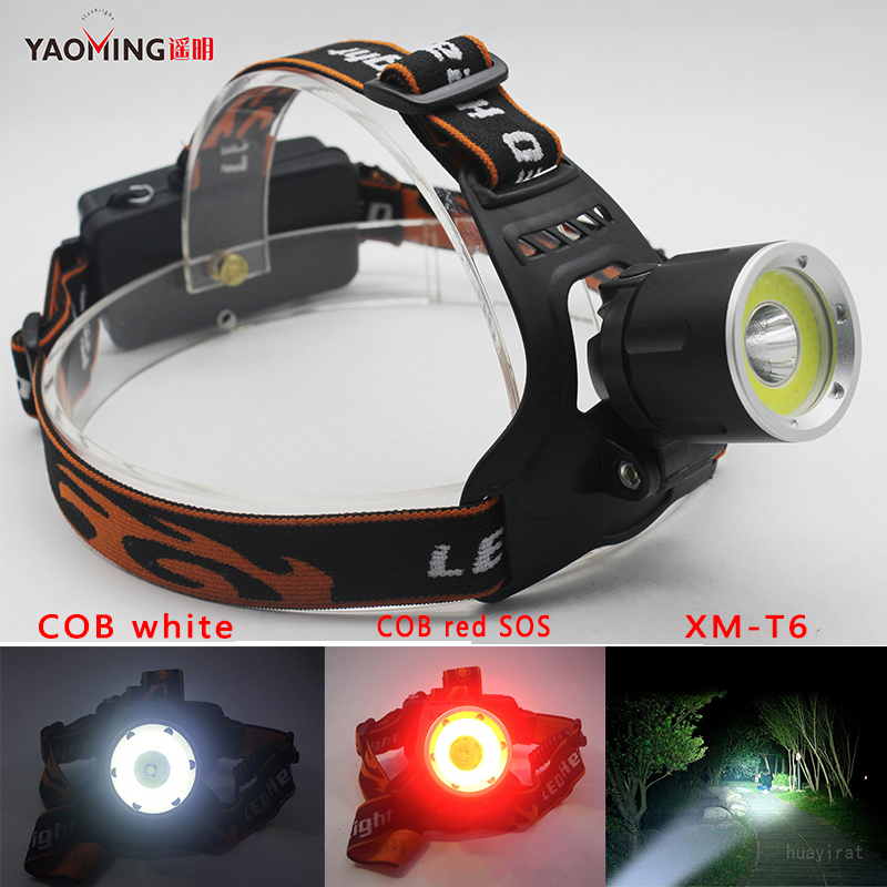 New adjustable XML-T6+COB Headlight+red LED SOS 3 model Headlamp for 2 * 18650 battery Head Lights For Outdoor Super Bright Lamp super bright portable 1000lm xml t6 camouflage headlight headlamp 3 modes for camping hiking