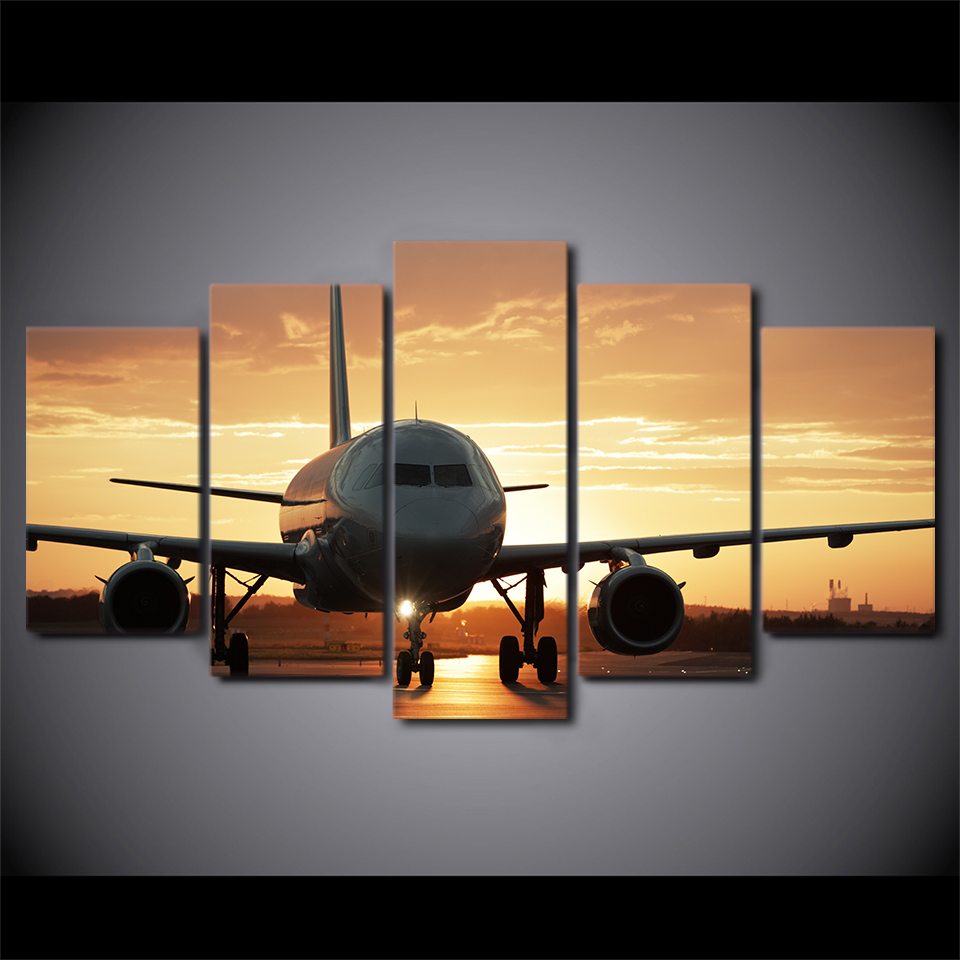 5 Panel HD Printed Golden Sunset Airplane Wall Art Pictures Home ...