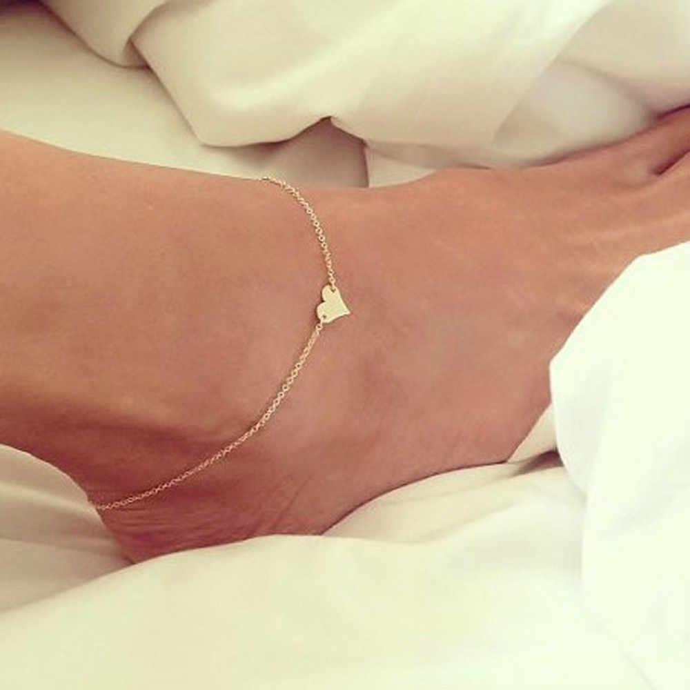 แฟชั่นผู้หญิงรูปหัวใจ Anklets เท้าเปล่าโครเชต์รองเท้าแตะเท้ารองเท้าแตะเครื่องประดับ Anklets