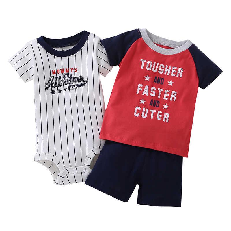 f725fff3c ... 2019 de moda de lona de algodón para Bebes Nuevo Modelo 3-pieza mono y  ...