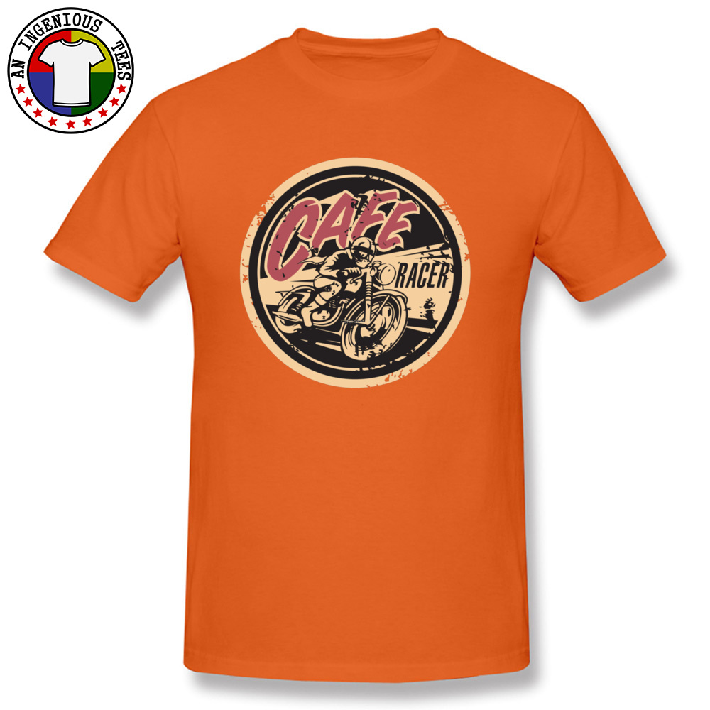 Tops Shirts Fashionable T Shirt Summer/Autumn Discount Customized Short Sleeve 100% Cotton Crew Neck Mens T-shirts Customized The Official Cafe Racer TV Logo -2980 orange