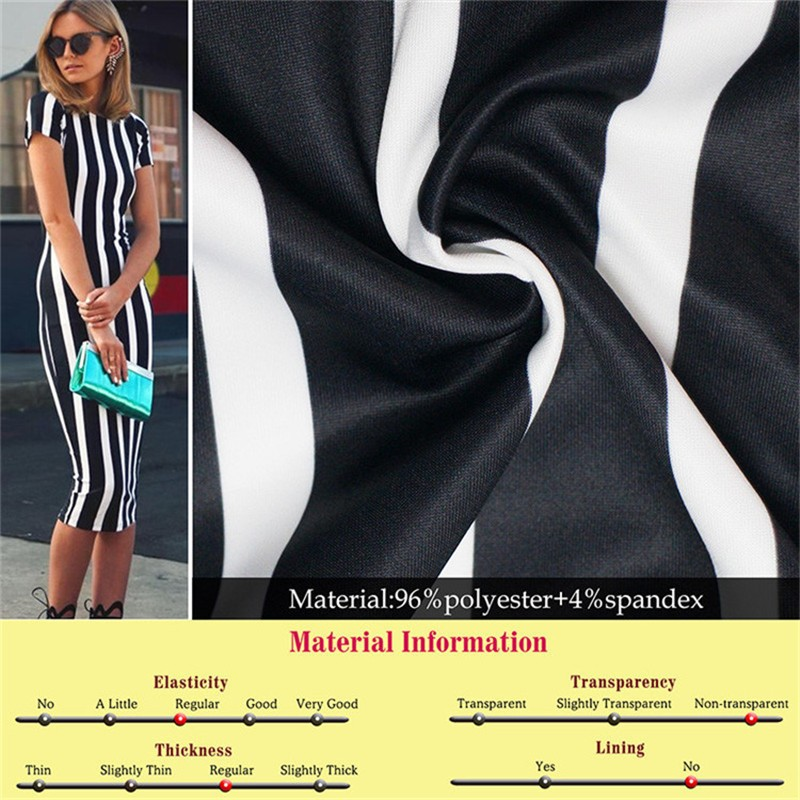 New Women Vertical Striped Fitness Bodycon Dresses Work Style Sexy Short Sleeve Sheath Office Midi Summer Dress Plus Size DWA23 (5)