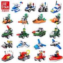 цена на 10 style JIE-STAR Building Blocks Vehicle Set 22-30pcs Warship Fire Truck Military Vehicle Brick Model Toys for Kids Blocks Car
