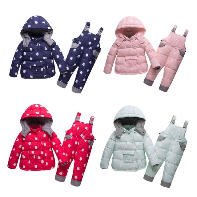 6233e0995b1a Baby Thick Hooded Clothing Sets Baby Boys White Duck Down Printing ...