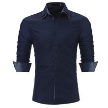 Brand 2017 Fashion Male Shirt Long-Sleeves Tops Double Collar Sleeves Patch Casual Mens Dress Shirts Slim Men Shirt