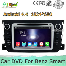 1024*600 Resolution Android 4.4 Car DVD for Benz Smart Fortwo Capacitive Touch Screen GPS Navigation Radio Player A9 Dual Core