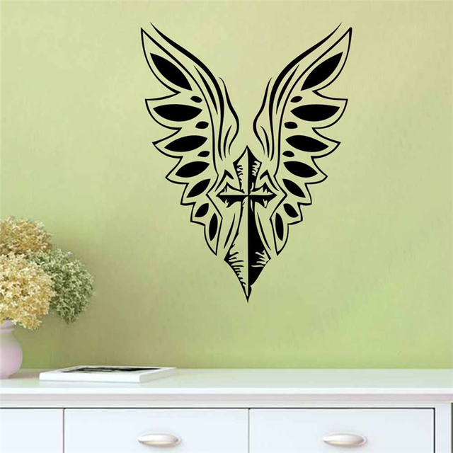 Cross Angel Wings Wall Decals Home Decoration For Living Room Bedroom  Stickers Art Removable Vinyl Diy