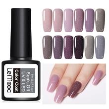 LEMOOC 8ml Holography Shimmery Gel Polish Purple Gray Pink 12 Colors Soak Off UV Varnish Nail Art Manicure Design