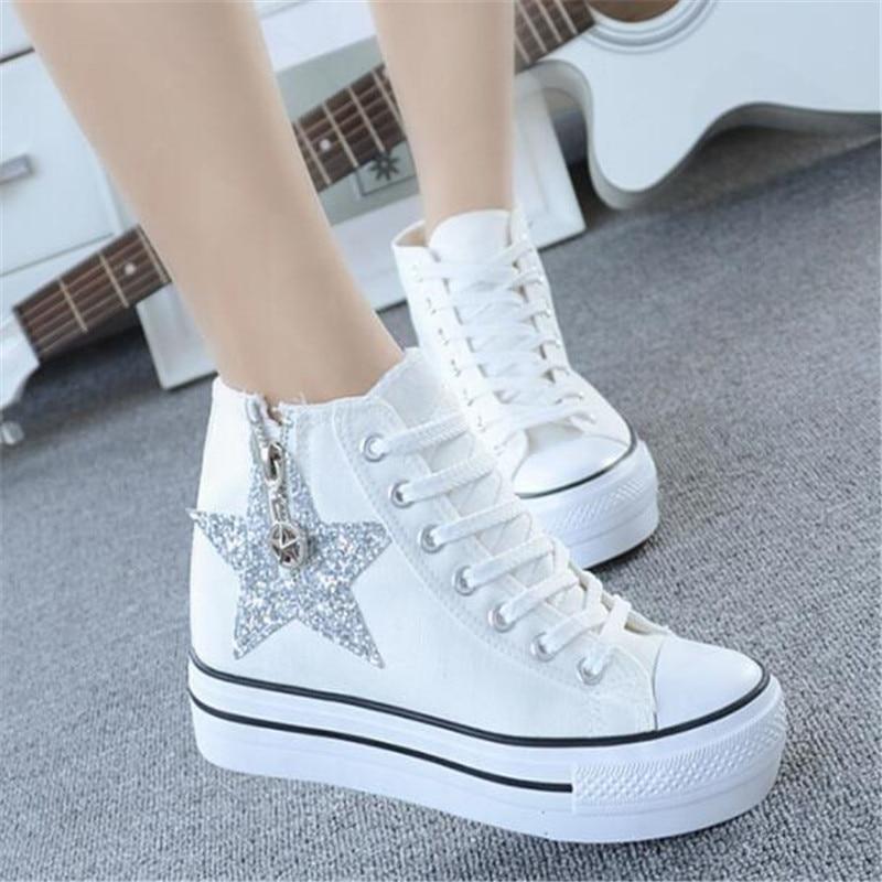 dc293e56f7b9d5 Thick Bottoms Women Sneakers Hidden Heel Canvas Platform High Top Wedge  sneakers New Glitter Sequins Lace. sku  32968507745