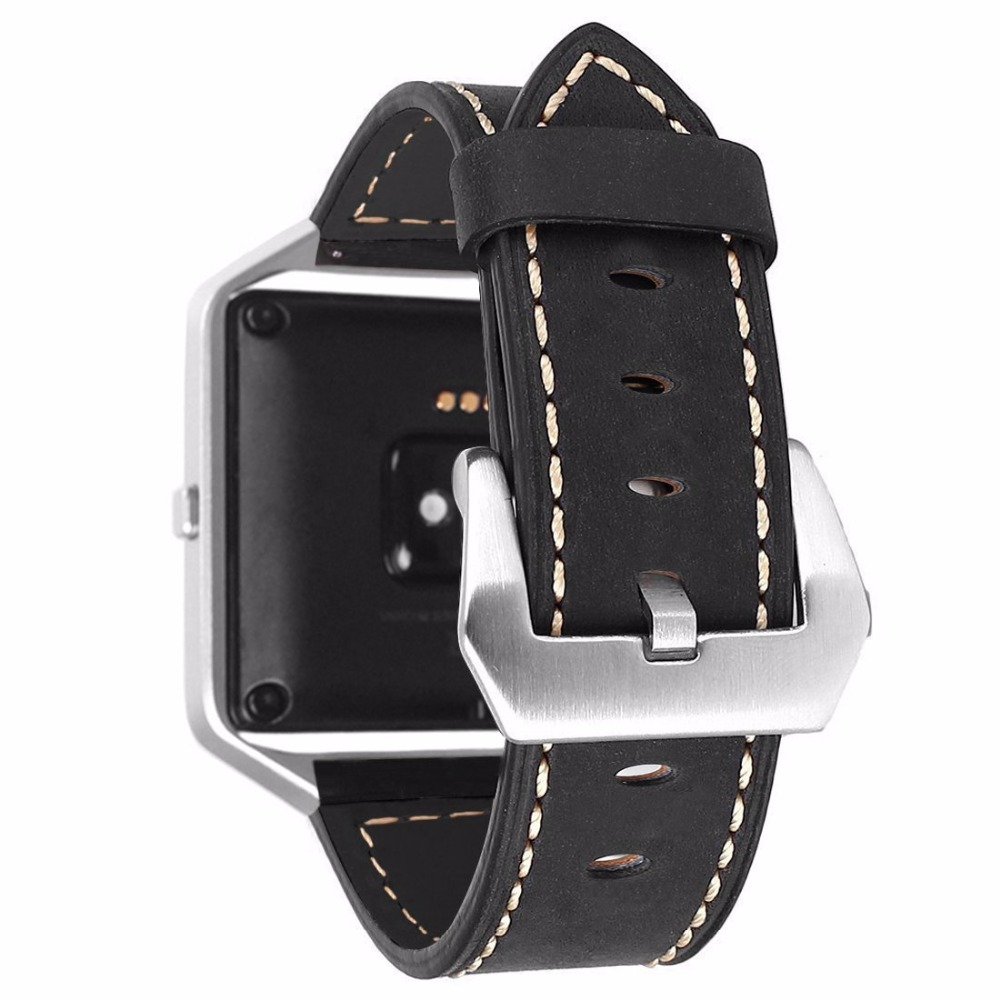 For Fitbit Blaze Band Vintage Genuine Leather Replacement Watchband with Metal Clasp Buckle Large Strap fitbit blaze band large metal frame housing