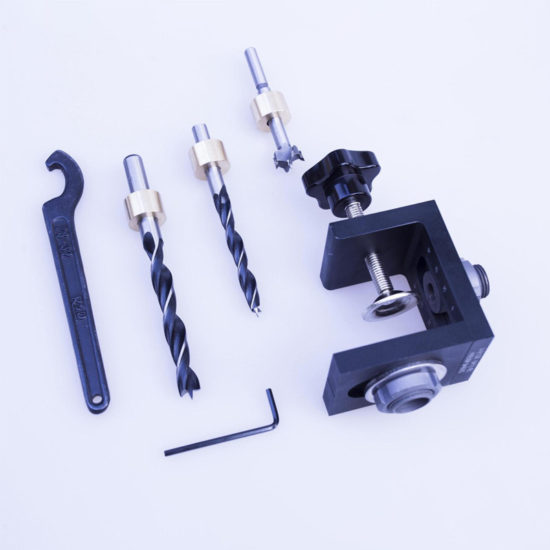 Woodworking Hole Locator Punch Positioner Jig Kit With Step Drilling Bit Woodworking Locator Wrench For Woodworking Tools woodworking tool pocket hole jig woodwork guide repair carpenter kit system with toggle clamp and step drilling bit k527