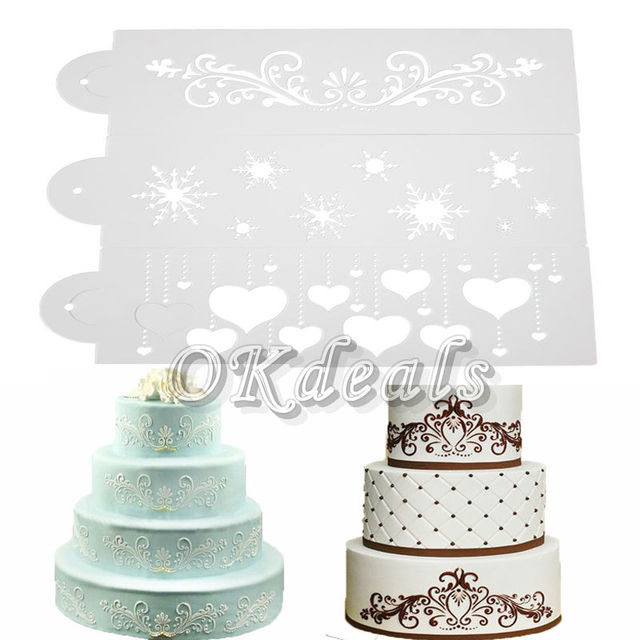 Hot Sale!!Lace Flower Border Edge Cake Stencil Decorating Sugarcraft ...