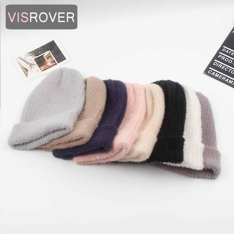 VISROVER 8 Colors Autumn Winter Bonnet Unisex Solid Color Real Cashmere Beanies New Cashmere Woman Warm Knitted Hat  Wholesales