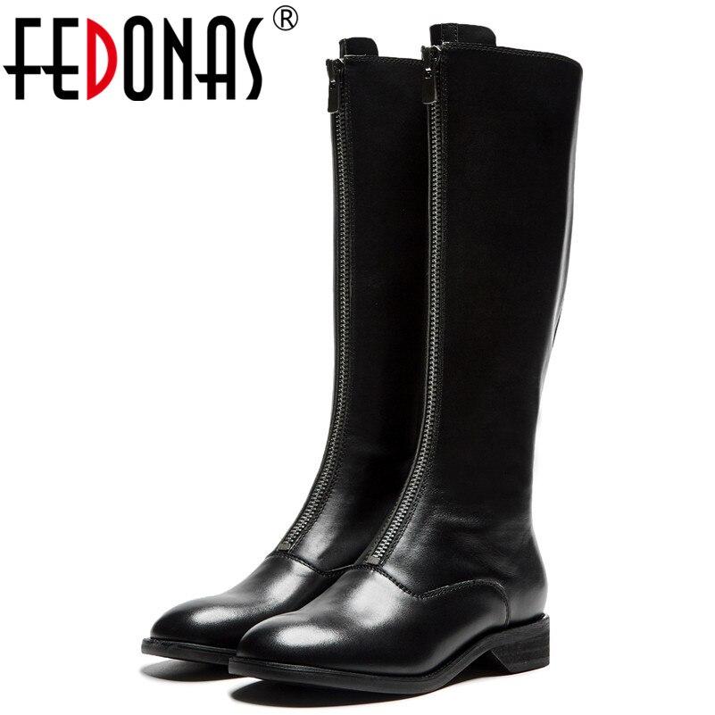 FEDONAS Fashion Brand Women Knee High Boots Low Heels Autumn Winter Motorcycle Boots Round Toe Ladies