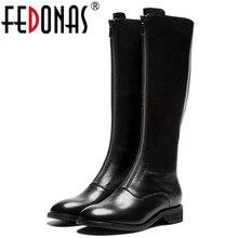 Fedonas marca de moda feminina na altura do joelho botas de salto baixo outono inverno botas da motocicleta dedo do pé redondo senhoras botas altas sapatos mulher