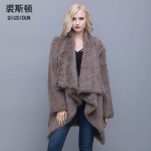QIUSIDUN 2017 Women Genuine Knitted Rabbit Fur Coat Winter Real  New Fashion Outwear Lady Natural Jacket