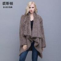 QIUSIDUN 2017 Women Genuine Knitted Rabbit Fur Coat Winter Real Rabbit New Fashion Fur Outwear Lady Natural Rabbit Fur Jacket