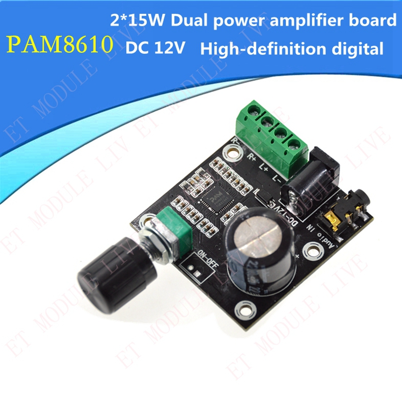 Super Slim 2x15W PAM8610 two-channel amplifier board digital Class D Digital Dual Power Audio Amplifier Board DC 12V