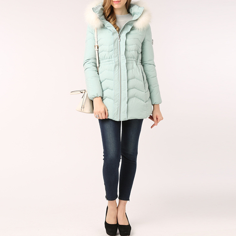 96efede2244 Snowflake Diamonds Sweet Down Coat Winter Jacket Women Parka With Real Fur  Hood Thick Warm Tunic Women's Light Blue Coats