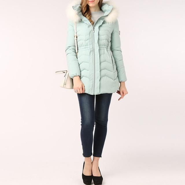 3cfd574c42 Snowflake Diamonds Sweet Down Coat Winter Jacket Women Parka With Real Fur  Hood Thick Warm Tunic Women's Light Blue Coats