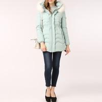 Snowflake Diamonds Sweet Down Coat Winter Jacket Women Parka With Real Fur Hood Thick Warm Tunic Women's Light Blue Coats