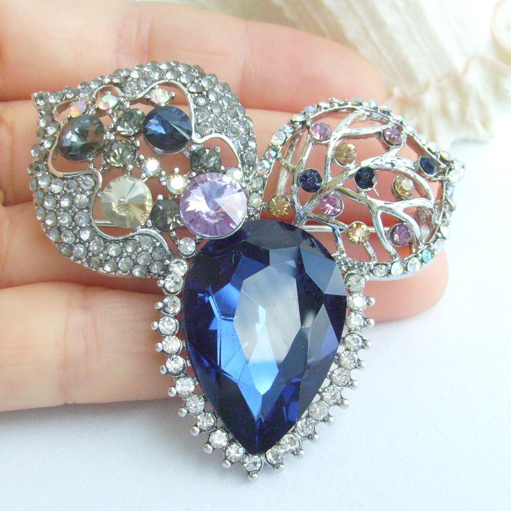 2.36 Inch Silver-tone Multicolor Rhinestone Crystal Flower Brooch Pendant Art Decorations EE06563C6