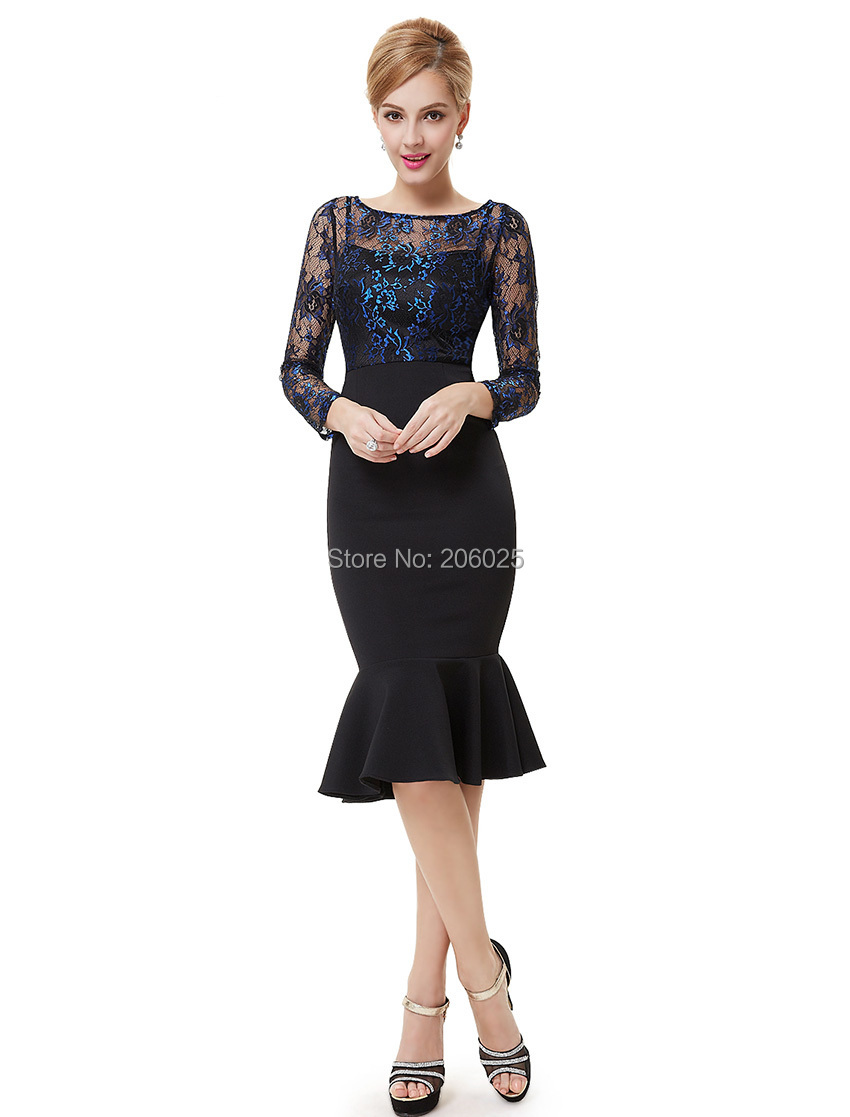 [Clearance Sale] Sexy Cocktail Dress Ever Pretty HE08455 Knee Length Mermaid Dresses Black Lacey Long Sleeves Cocktail Dresses