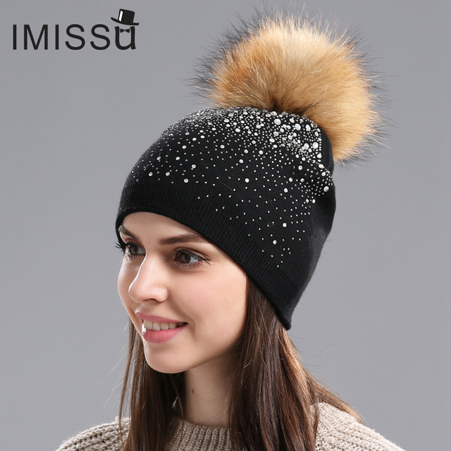 d6e11317c99 IMISSU Winter Women s Hats Knitted Wool Casual Mask Raccoon Fur Pom Pom Hat  Crystal Solid Color Casquette Gorros Outdoor Cap