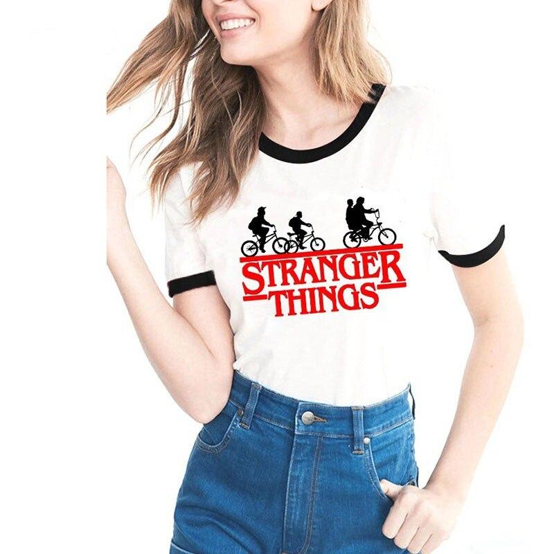 Fashion Stranger Things 3 Women Tshirt Harajuku Vintage Tv Show Tshirt Funny Summer 2019 White Tee Shirt Femme Oversized Tops