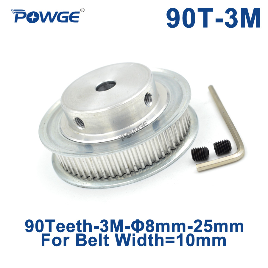 POWGE Arc Tooth 90 Teeth 3M Synchronous Pulley Bore 8/10/12/15/16/17/19/20mm for Width 10mm HTD3M Timing belt gear 90Teeth 90T все цены