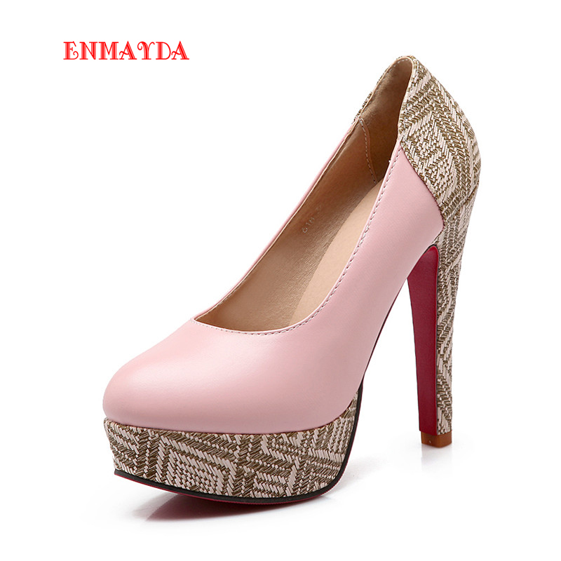 Enmayda 2016 New Fashion Women Shoes Thin Heel Pu Round Toe Plain Casual Slip On Shoes Spring