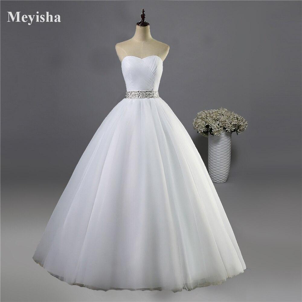 ZJ9040 2016 סטרפלס יהלומים לבנים שנהב פורמליות חרוזים שמלות כלה קריסטל סיטונאי 2015 שמלת הכלה plus גודל אלגנטי