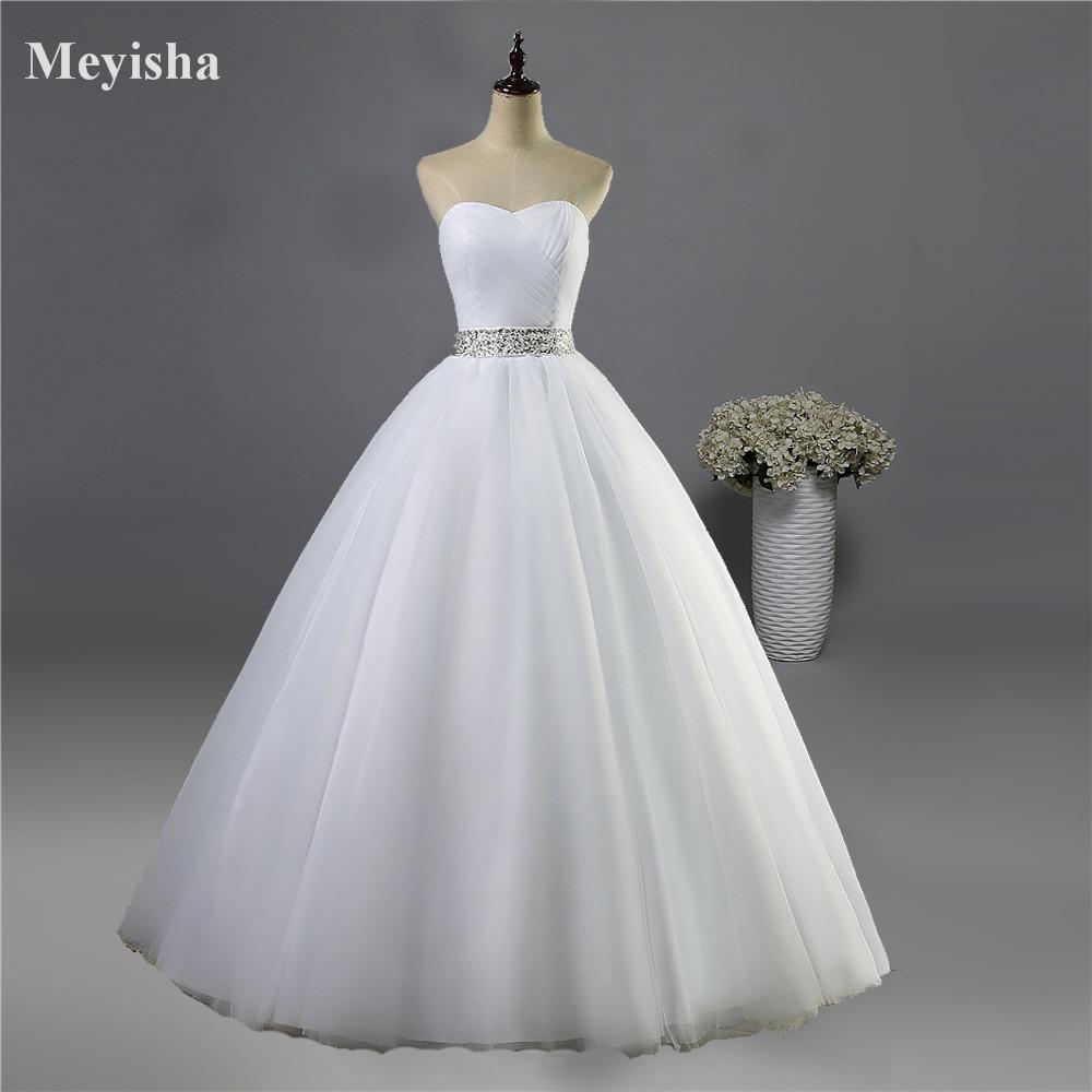 abe188385648e ZJ9040 2019 sans bretelles diamant blanc ivoire formelle perles de cristal  robes de mariée 2018 robe