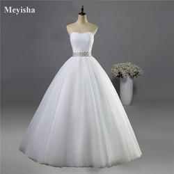 ZJ9040 2019 strapless diamond White Ivory formal Crystal Beads Wedding Dresses 2018 Bridal Dress plus size elegant wholesale 1