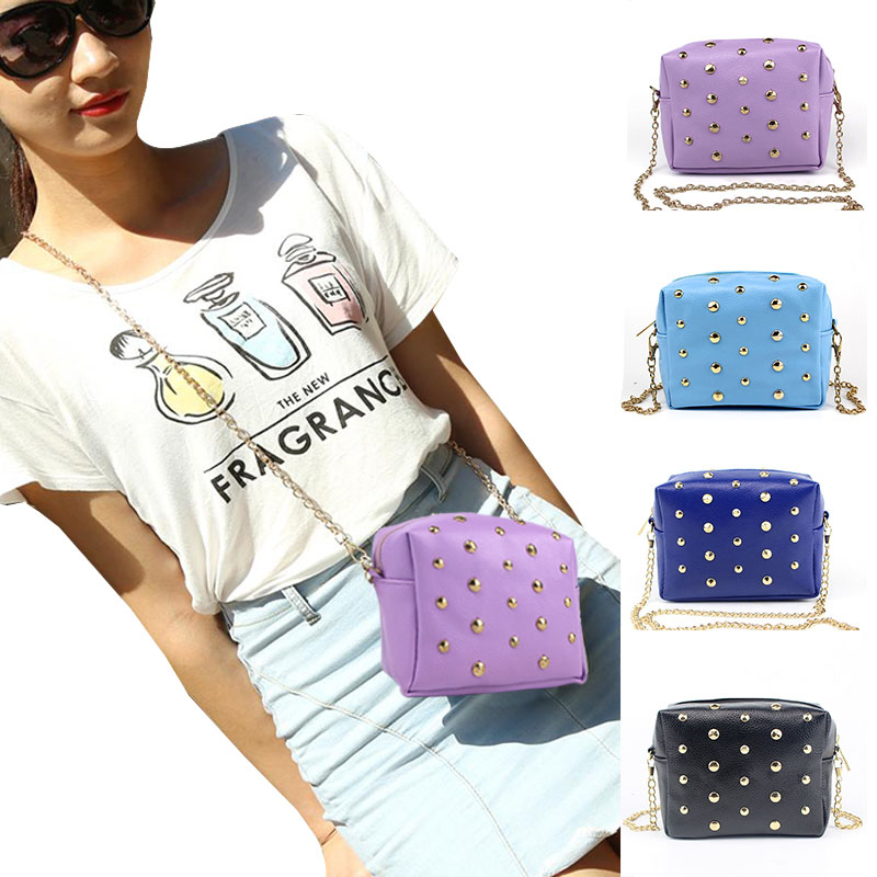 Crossbody Bags for Women Shoulder Bag Rivet Chains Small Mini PU Leather Mobile Phone Trunk Messenger Bags  88 LBY2017 mini women crossbody bags small women