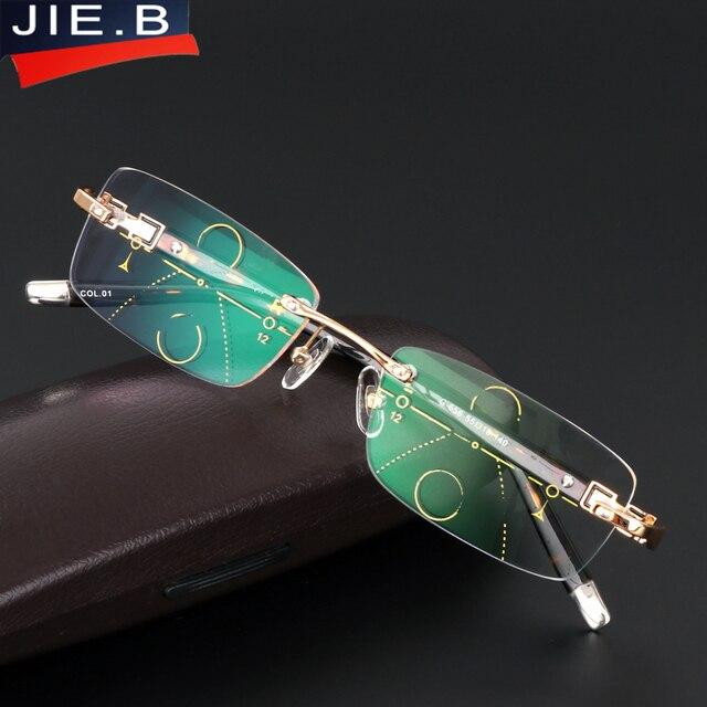 119761093ab08 2017 Novos Homens de Qualidade Liga de Titânio Óculos Multifocais lentes  Progressivas Óculos de Leitura de
