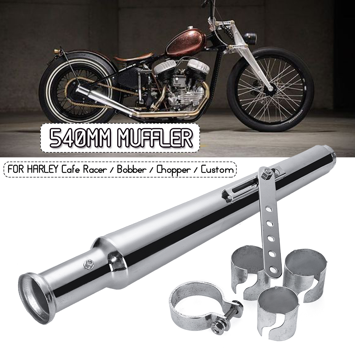 540MM Motorcycle Retro Tail Exhaust Pipe Muffler Silencer For Harley Cafe Racer Bobber Chopper Custom540MM Motorcycle Retro Tail Exhaust Pipe Muffler Silencer For Harley Cafe Racer Bobber Chopper Custom